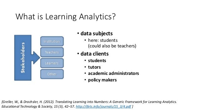 What is Learning Analytics? • data subjects • here: students (could also be teachers) • data clients • students • tutors •...