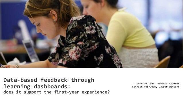 Data-based feedback through learning dashboards Tinne De Laet, Rebecca Edwards Katrien Heirwegh, Jasper Witters Data-based...