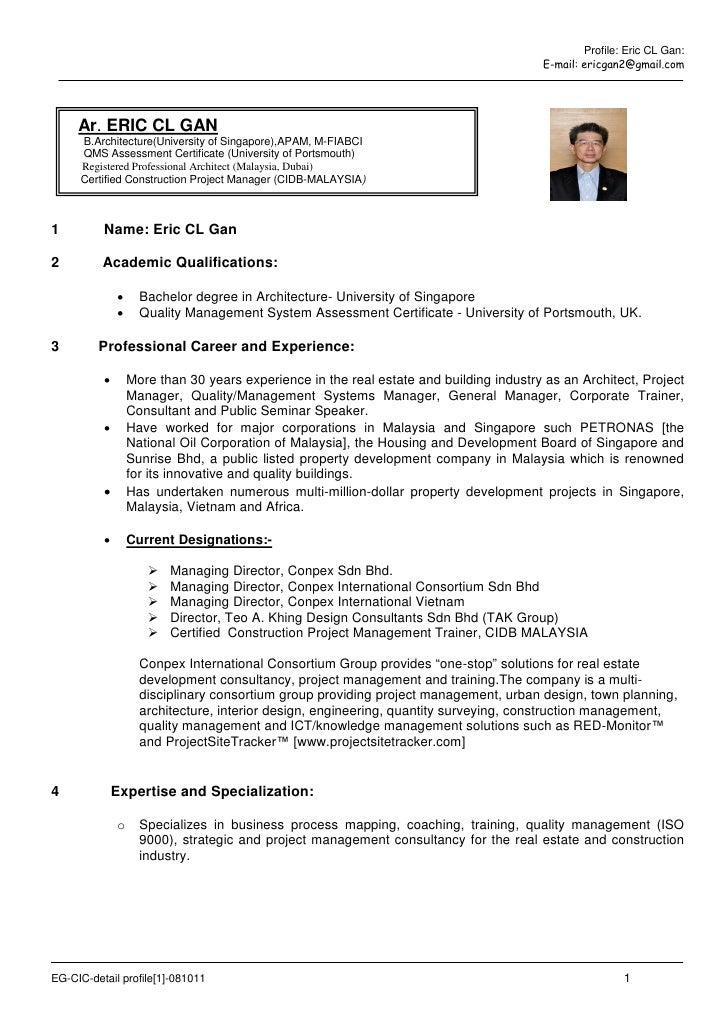 Profile: Eric CL Gan:                                                                                        E-mail: ericg...