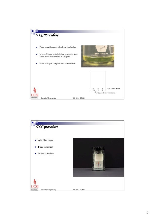 thin layer chromatography essay Introduction chromatography is a technique used to separate a mixture into its individual components in this experiment, chromatography is done by using a thin layer chromatography (tlc) plate and filter paper.