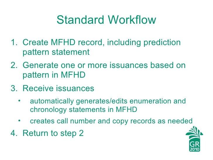 Standard Workflow <ul><li>Create MFHD record, including prediction pattern statement </li></ul><ul><li>Generate one or mor...