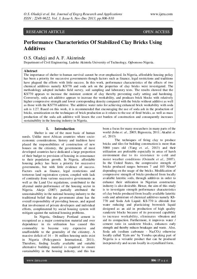 O.S. Oladeji et al. Int. Journal of Engrg Research and Applications ISSN : 2248-9622, Vol. 3, Issue 6, Nov-Dec 2013, pp.80...