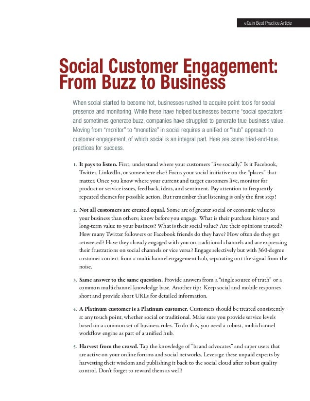 eGain Best Practice Article  Social Customer Engagement: From Buzz to Business When social started to become hot, business...