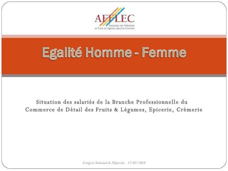 Situation des salariés de la Branche Professionnelle du  Commerce de Détail des Fruits & Légumes, Epicerie, Crémerie Congr...