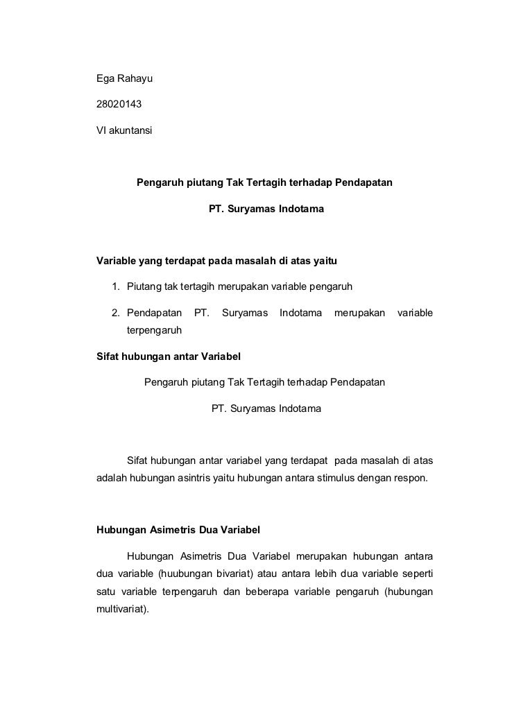 Ega Rahayu28020143VI akuntansi         Pengaruh piutang Tak Tertagih terhadap Pendapatan                        PT. Suryam...
