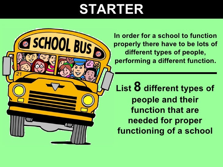 STARTER In order for a school to function properly there have to be lots of different types of people, performing a differ...