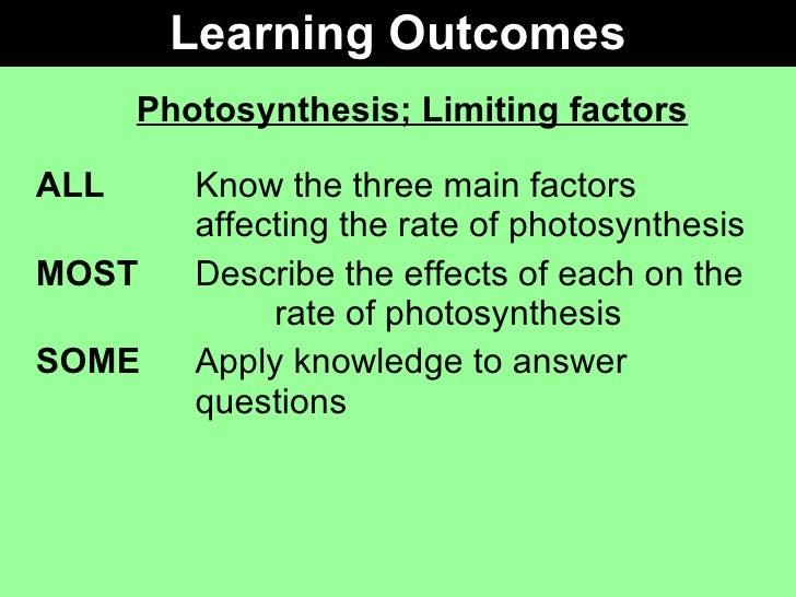 Gcse biology coursework photosynthesis and limiting factors