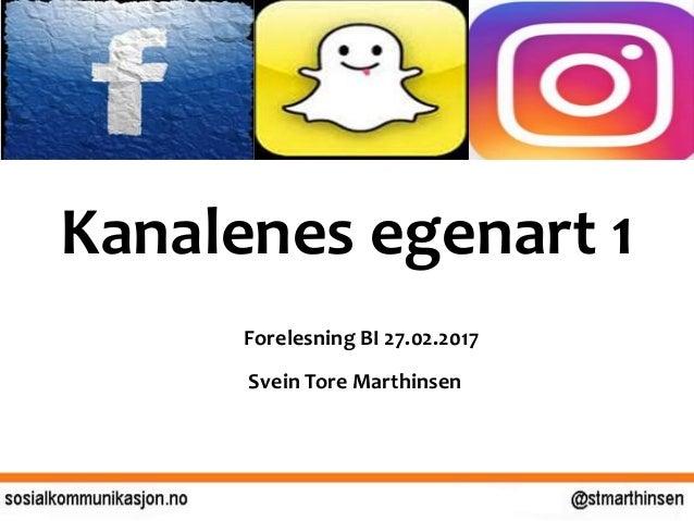 Kanalenes egenart 1 Forelesning BI 27.02.2017 Svein Tore Marthinsen