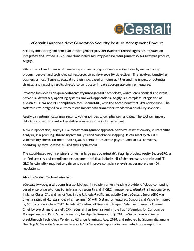 eGestalt Launches Next Generation Security Posture Management ProductSecurity monitoring and compliance management provide...