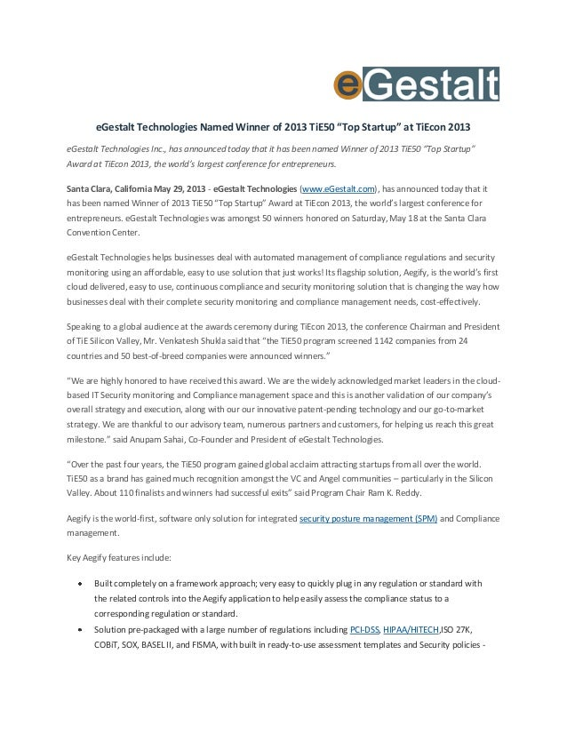 "eGestalt Technologies Named Winner of 2013 TiE50 ""Top Startup"" at TiEcon 2013eGestalt Technologies Inc., has announced tod..."