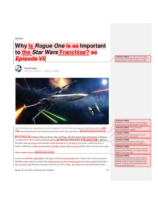 Eggum, R., Star Wars (Tracking and Comments) 1/3 MOVIES Why Is Rogue One Is as Important to the Star Wars Franchise? as Ep...