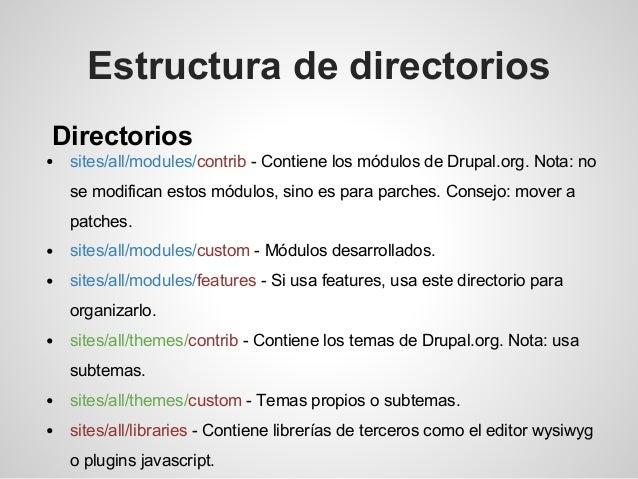 Directorios sites/all/modules/contrib - Contiene los módulos de Drupal.org. Nota: no se modifican estos módulos, sino es p...