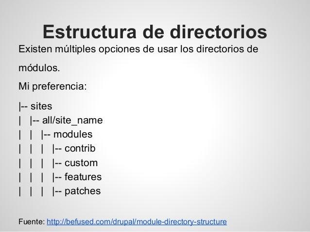Estructura de directorios Existen múltiples opciones de usar los directorios de módulos. Mi preferencia:  -- sites    -- a...