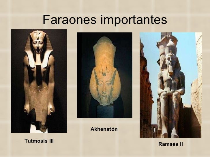 Faraones importantes Akhenatón   Tutmosis III   Ramsés II