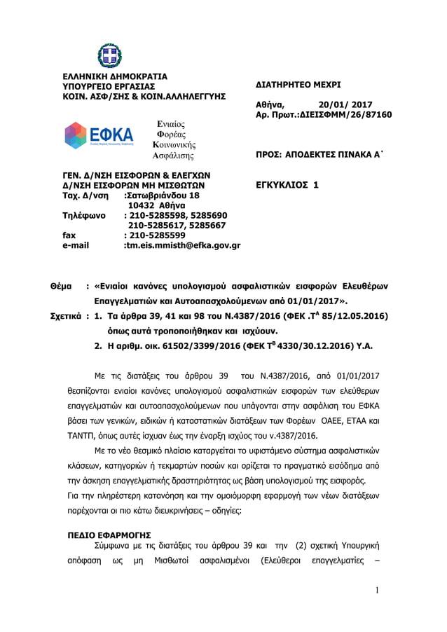1 Θέμα : «Ενιαίοι κανόνες υπολογισμού ασφαλιστικών εισφορών Ελευθέρων Επαγγελματιών και Αυτοαπασχολούμενων από 01/01/2017»...