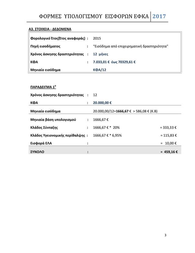 """ΦΟΡΜΕΣ ΥΠΟΛΟΓΙΣΜΟΥ ΕΙΣΦΟΡΩΝ ΕΦΚΑ 2017 3 Α3. ΣΤΟΙΧΕΙΑ - ΔΕΔΟΜΕΝΑ Φορολογικό Έτος(Έτος αναφοράς) : 2015 Πηγή εισοδήματος : """"..."""