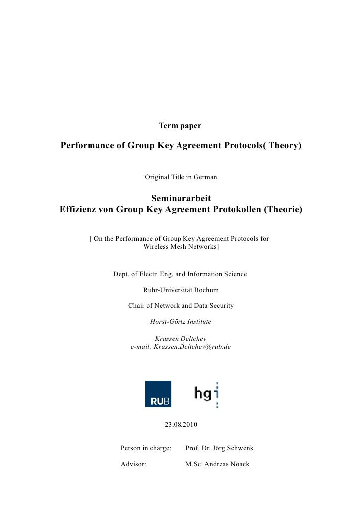 Term paperPerformance of Group Key Agreement Protocols( Theory)                       Original Title in German            ...