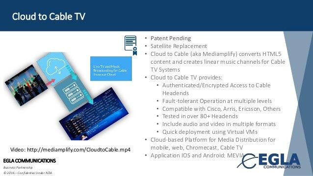 Cloud to Cable TV EGLA COMMUNICATIONS Business Partnership © 2016 – Confidential Under NDA • Patent Pending • Satellite Re...