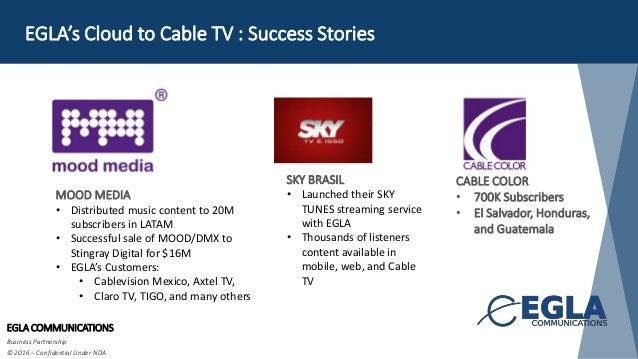 EGLA's Cloud to Cable TV : Success Stories EGLA COMMUNICATIONS Business Partnership © 2016 – Confidential Under NDA MOOD M...