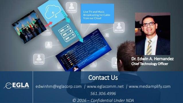 Contact Us edwinhm@eglacorp.com   www.eglacomm.net   www.mediamplify.com 561.306.4996 © 2016 – Confidential Under NDA Dr. ...