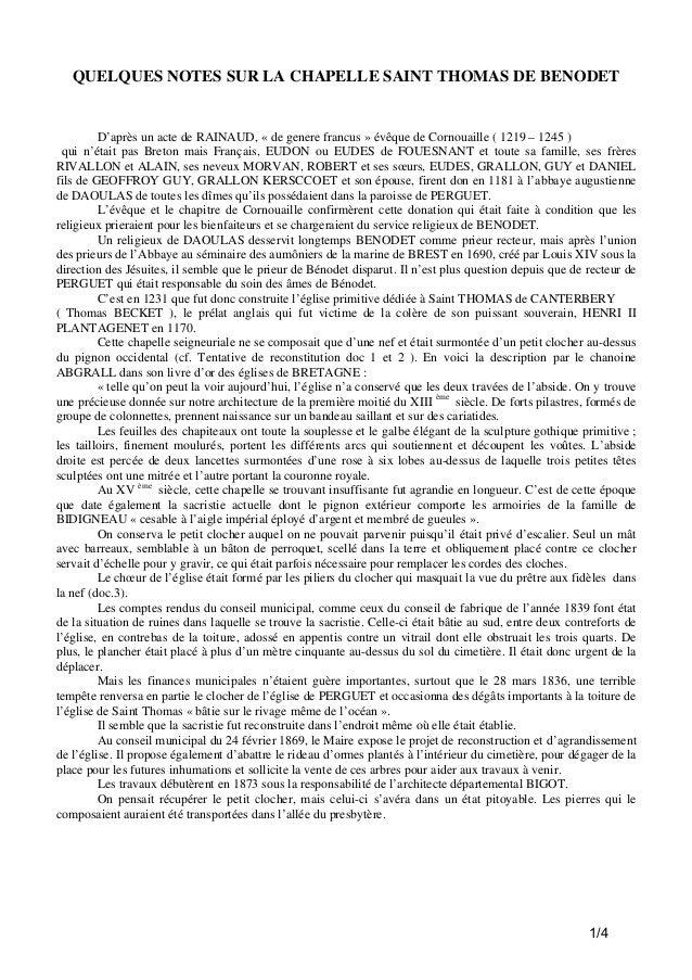 QUELQUES NOTES SUR LA CHAPELLE SAINT THOMAS DE BENODET  D'après un acte de RAINAUD, « de genere francus » évêque de Cornou...