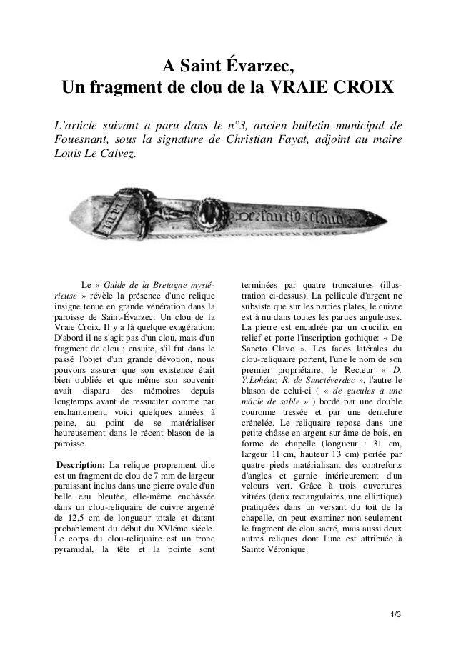 A Saint Évarzec, Un fragment de clou de la VRAIE CROIX L'article suivant a paru dans le n°3, ancien bulletin municipal de ...