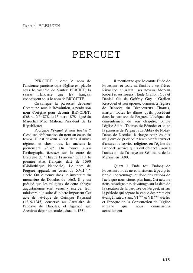 René BLEUZEN  PERGUET PERGUET : c'est le nom de l'ancienne paroisse dont l'église est placée sous le vocable de Santez BER...