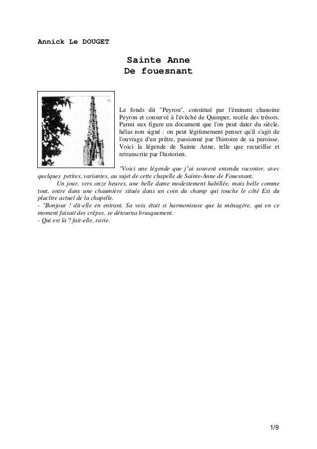 """Annick Le DOUGET  Sainte Anne De fouesnant  Le fonds dit """"Peyron"""", constitué par l'éminent chanoine Peyron et conservé à l..."""
