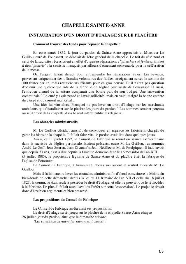 CHAPELLE SAINTE-ANNE INSTAURATION D'UN DROIT D'ETALAGE SUR LE PLACÎTRE Comment trouver des fonds pour réparer la chapelle ...
