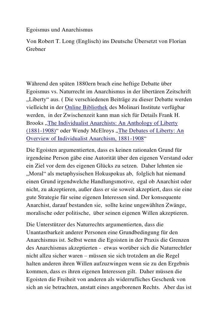 Egoismus und Anarchismus<br />Von Robert T. Long (Englisch) ins Deutsche Übersetzt von Florian Grebner<br />Während den sp...