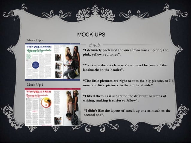 """MOCK UPS Mock Up 2 """"I definitely preferred the ones from mock up one, the pink, yellow, red tones"""". """"You knew the article ..."""