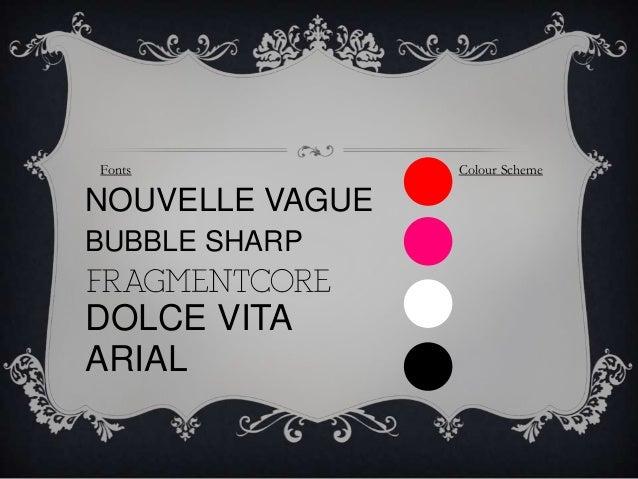 Fonts  NOUVELLE VAGUE BUBBLE SHARP  DOLCE VITA ARIAL  Colour Scheme