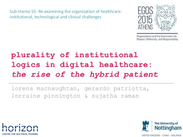 Sub-theme 55: Re-examining the organization of healthcare: institutional, technological and clinical challenges plurality ...