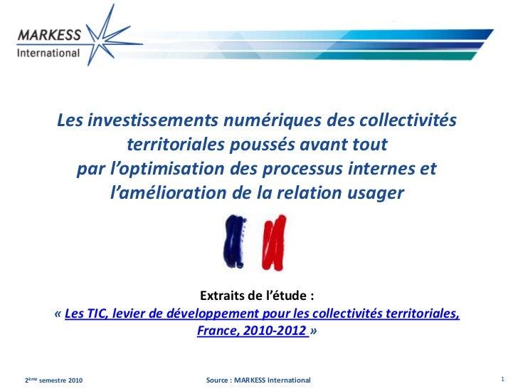 Les investissements numériques des collectivités                   territoriales poussés avant tout           par l'optimi...