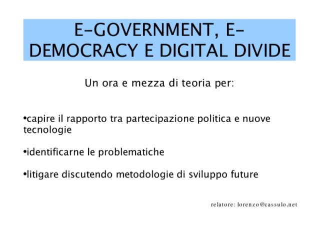 E-Government, e-democracy e digital divide