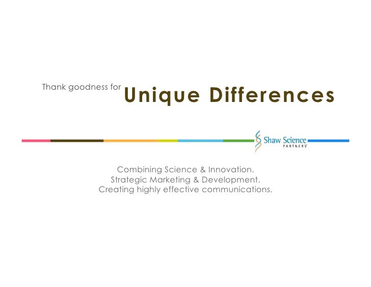 Unique DifferencesThank goodness for                   Combining Science & Innovation.                Strategic Marketing...