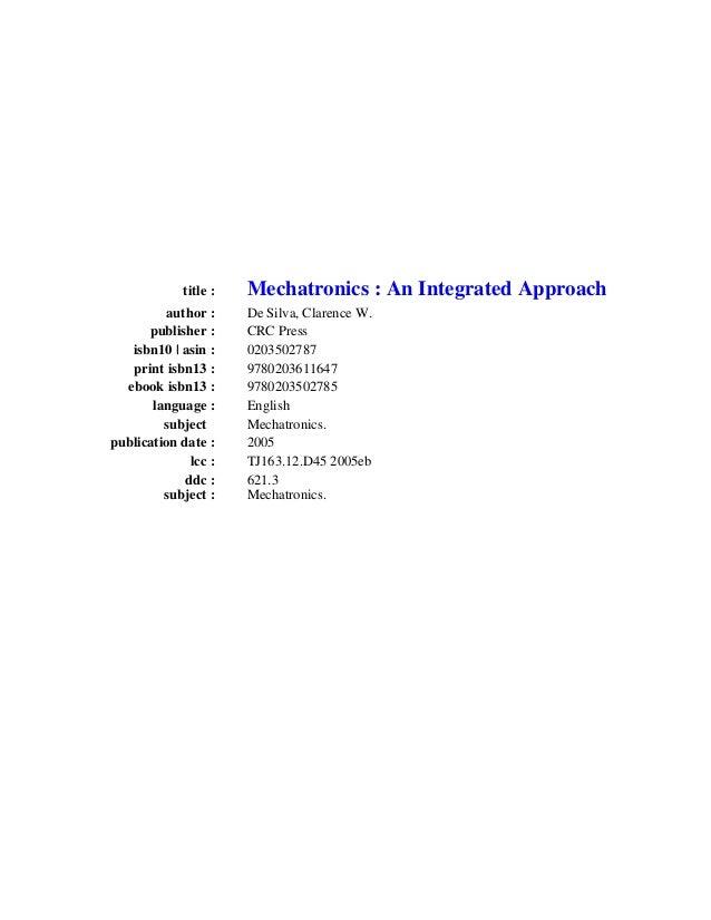 Mechatronics integrated aproach