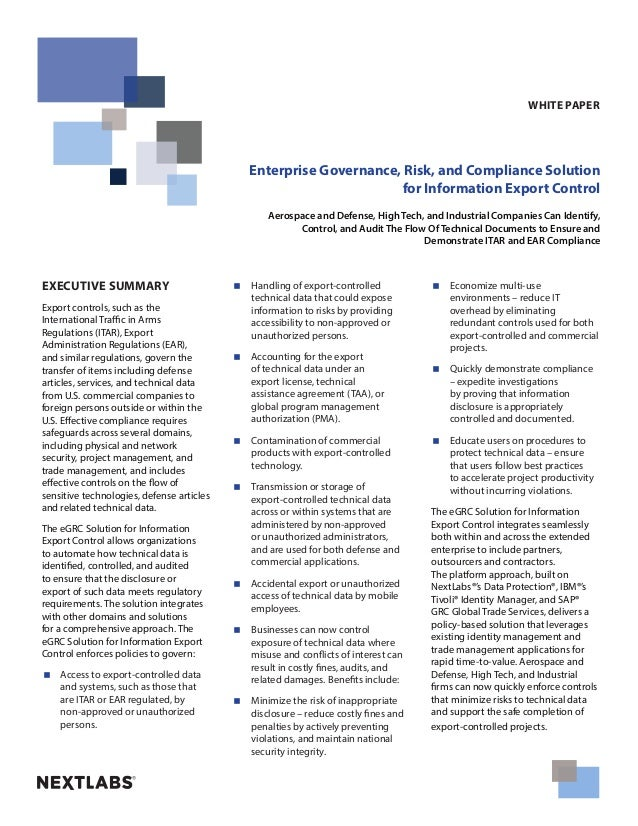 Enterprise Governance, Risk, and Compliance Solution for Information Export Control Aerospace and Defense, High Tech, and ...