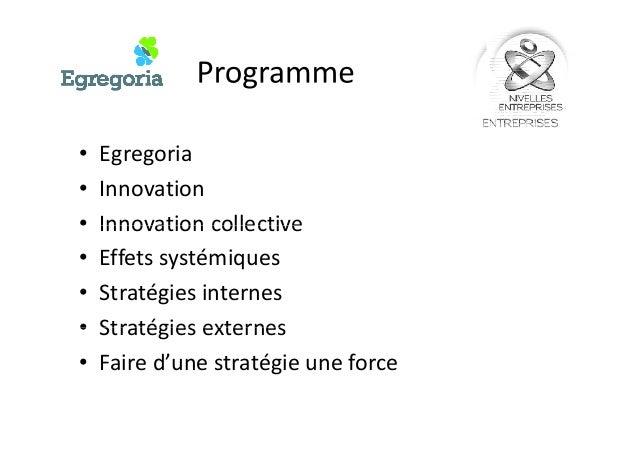 •Egregoria •Innovation•Innovation •Innovation collective•Innovation collective •Effets systémiques •Stratégies internes •S...