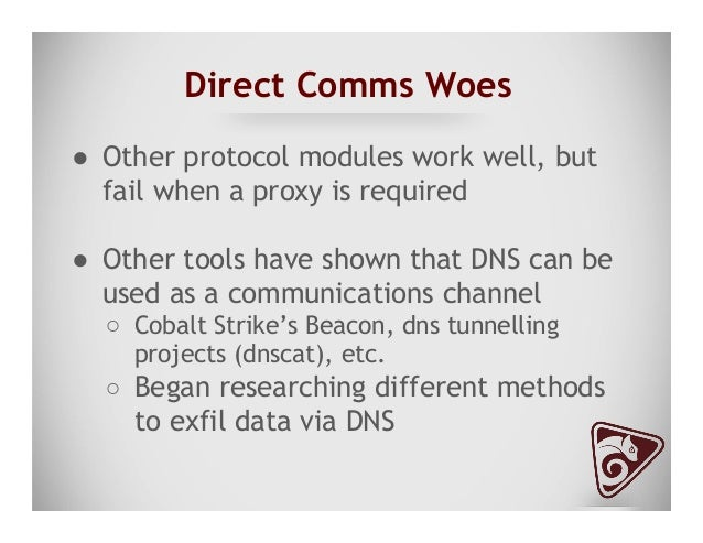 """Why Use DNS ● """"But we don't allow port 53 out!"""" ● Locked down environments can have proxies ● How many people inspect D..."""