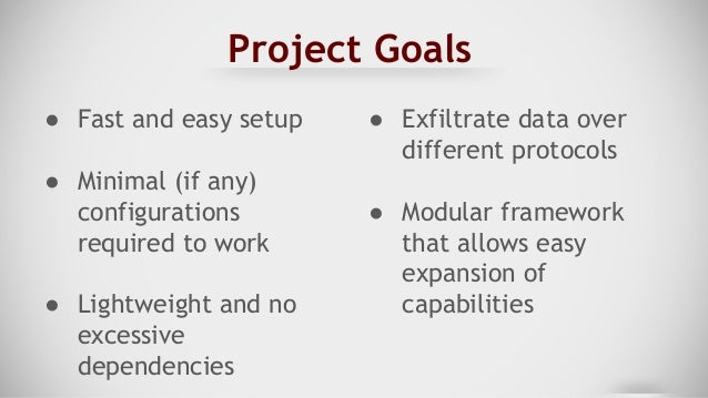 Project Goals ● Store all data/files transferred for proof of transfer ○ Stored in a specific directory ○ Time and date st...