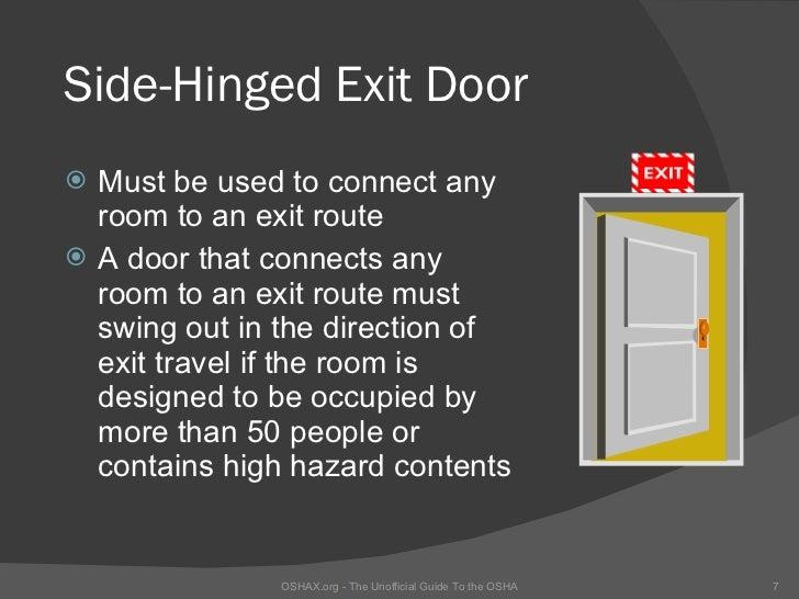... OSHA Locked and blocked exit; 7. Side-Hinged Exit Door ...  sc 1 st  SlideShare & Fire Egress Training pezcame.com