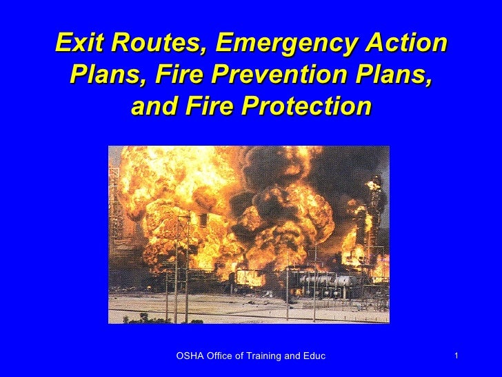 Exit Routes, Emergency Action Plans, Fire Prevention Plans, and Fire Protection