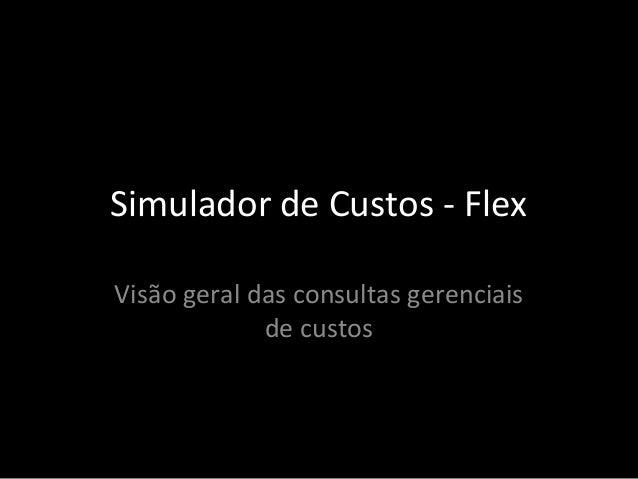 Simulador de Custos - Flex Visão geral das consultas gerenciais de custos