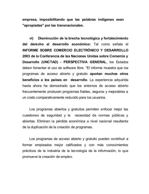 """empresa, imposibilitando que las palabras indígenas sean""""apropiadas"""" por las transnacionales.    vi)   Disminución de la b..."""