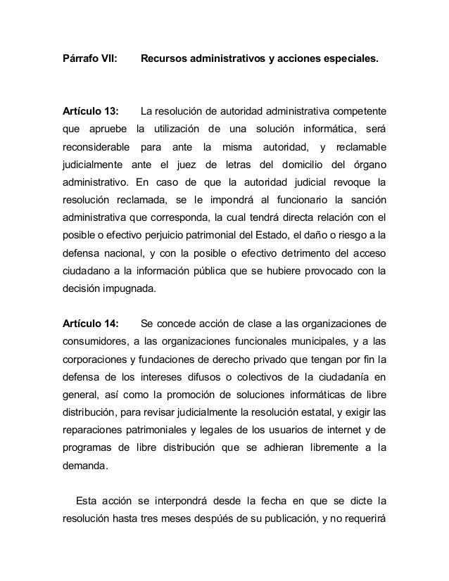 Párrafo VII:      Recursos administrativos y acciones especiales.Artículo 13:      La resolución de autoridad administrati...