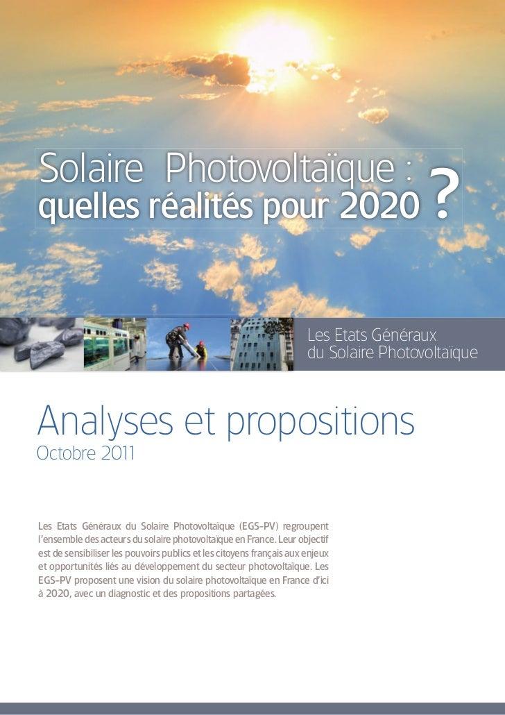 Solaire Photovoltaïque :quelles réalités pour 2020                                                             ?          ...