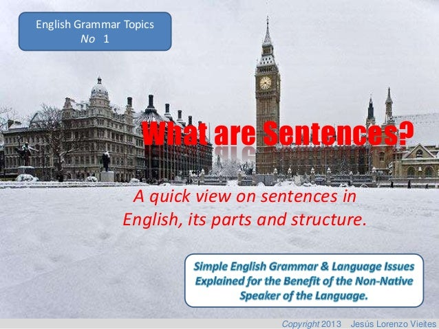 English Grammar Topics No 1  What are Sentences? A quick view on sentences in English, its parts and structure.  Copyright...