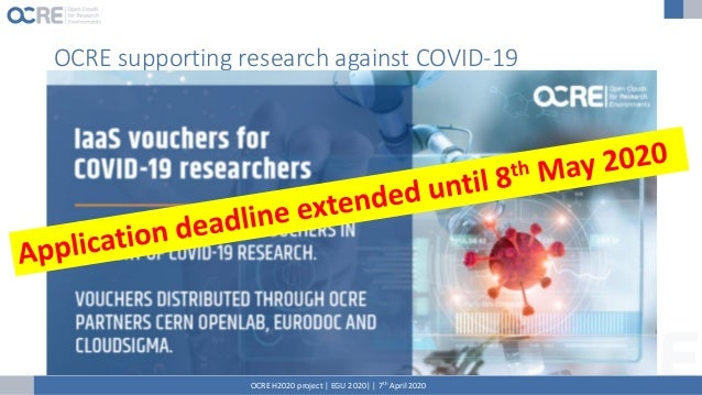 Stimulating uptake of cloud services OCRE started to distribute vouchers to encourage more researchers to use commercial c...