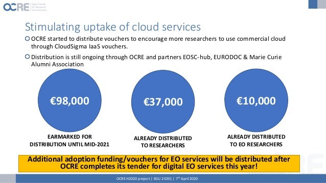 Cloud tender launched! OCRE H2020 project | EGU 2020| | 7th April 2020